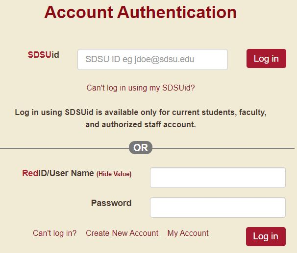 SDSU Webportal login page