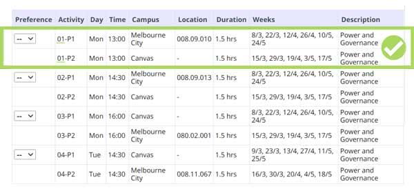 rmit timetable class preferences