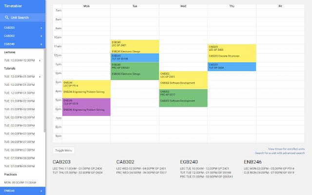 QUT Timetable Planner