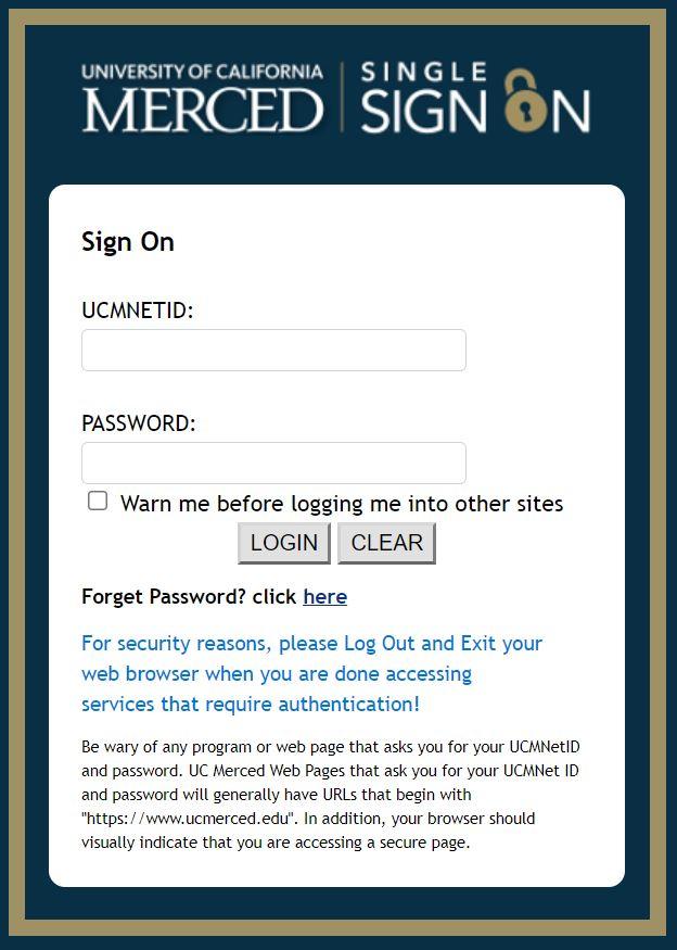 UC Merced Portal login page