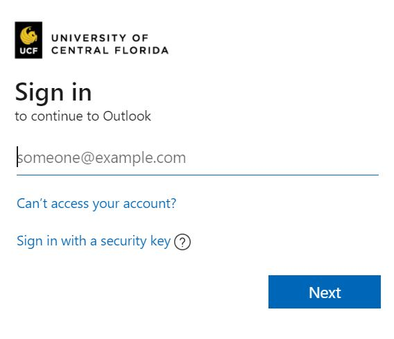 UCF Knights email login page