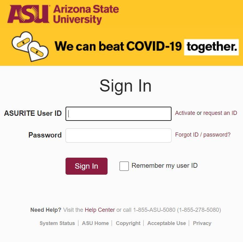 My ASU login page.