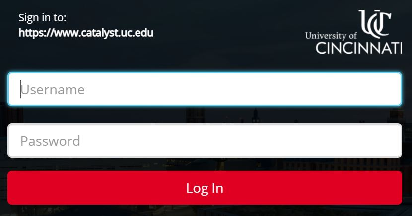 UC Catalyst login page.