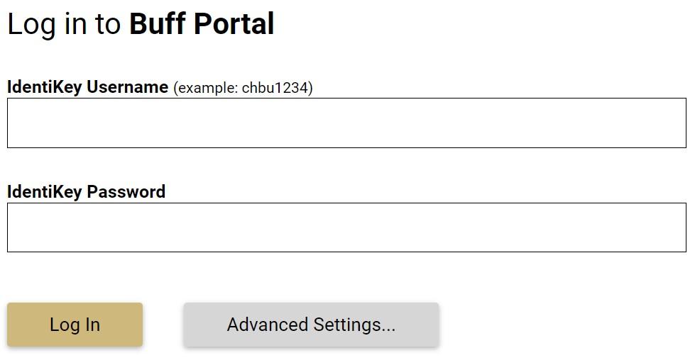 Buff portal login.
